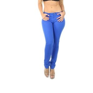 Pants - Royal Blue Cotton Twill Color Skinny Pants